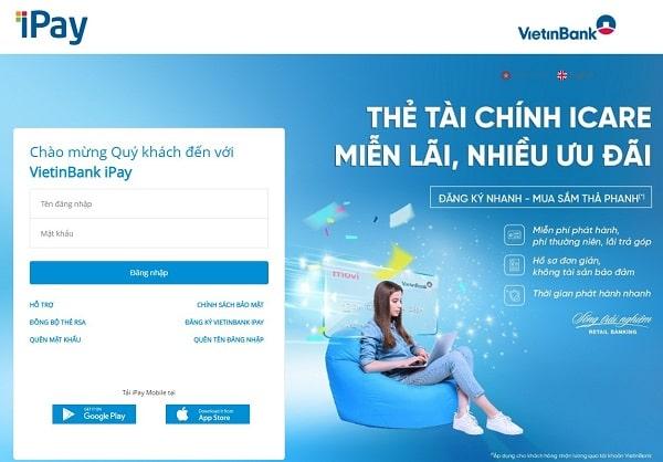Giao diện đăng nhập Vietinbank Ipay trên website
