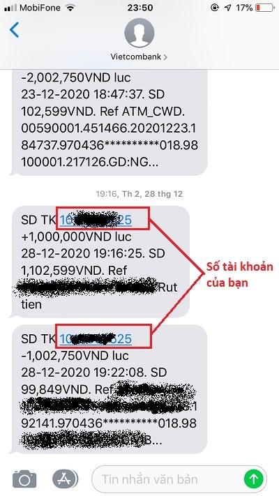 Tra cứu số tài khoản ở trong nội dung SMS khi ngân hàng gửi thông báo biến động số dư cho bạn
