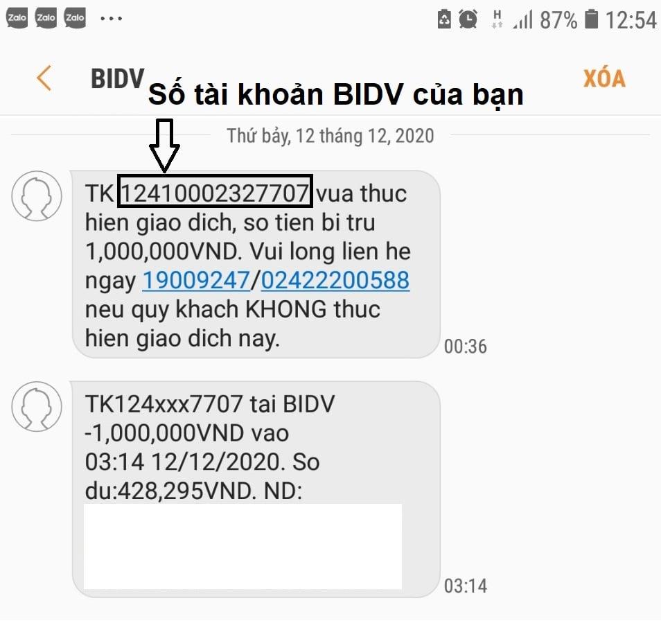 Kiểm tra số tài khoản trong tin nhắn SMS BIDV gửi cho bạn