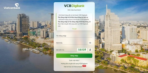 Giao diện dịch vụ VCB Digibank trên máy tính