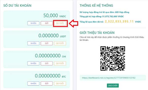 Rút tiền từ ví VNDC về tài khoản ngân hàng
