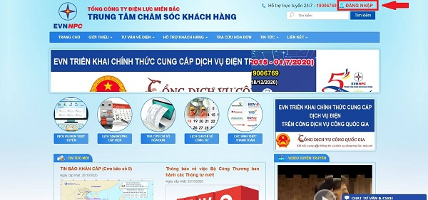 Tra cứu tiền điện qua Website