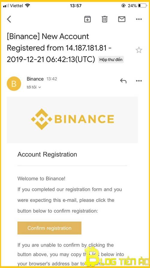 Xác nhận tài khoản Binance