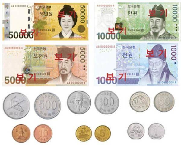 Đồng Won Hàn Quốc có 6 loại tiền kim loại và 4 loại tiền giấy