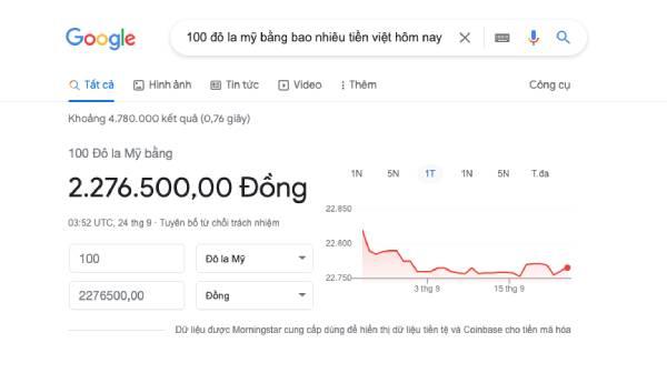 Quy đổi USD sang VND dễ dàng trên Google